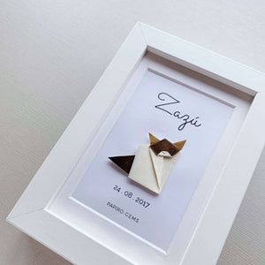 Personalized origami cat handmade poster by Papiro Gems