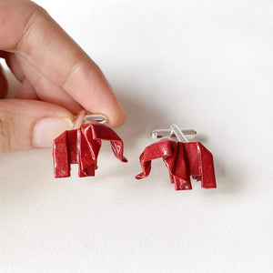 Handmande elephant origami cufflinks for wedding