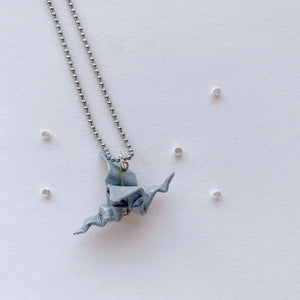 Handmade origami grey dragon necklace