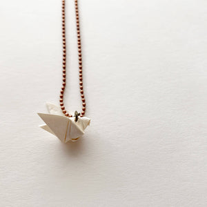 solidarity origami copper brass necklace