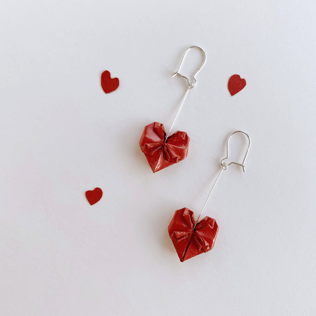 Handmade origami valentines hearts silver earrings