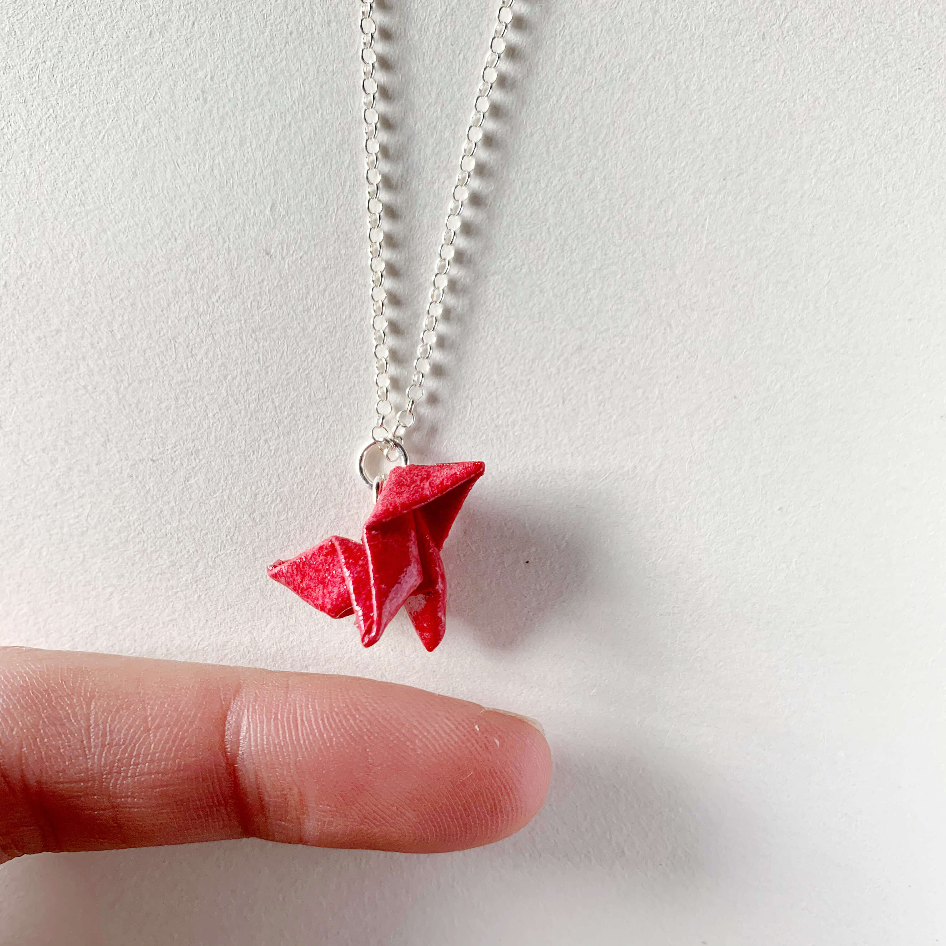 Money heist red origami bird paper necklace