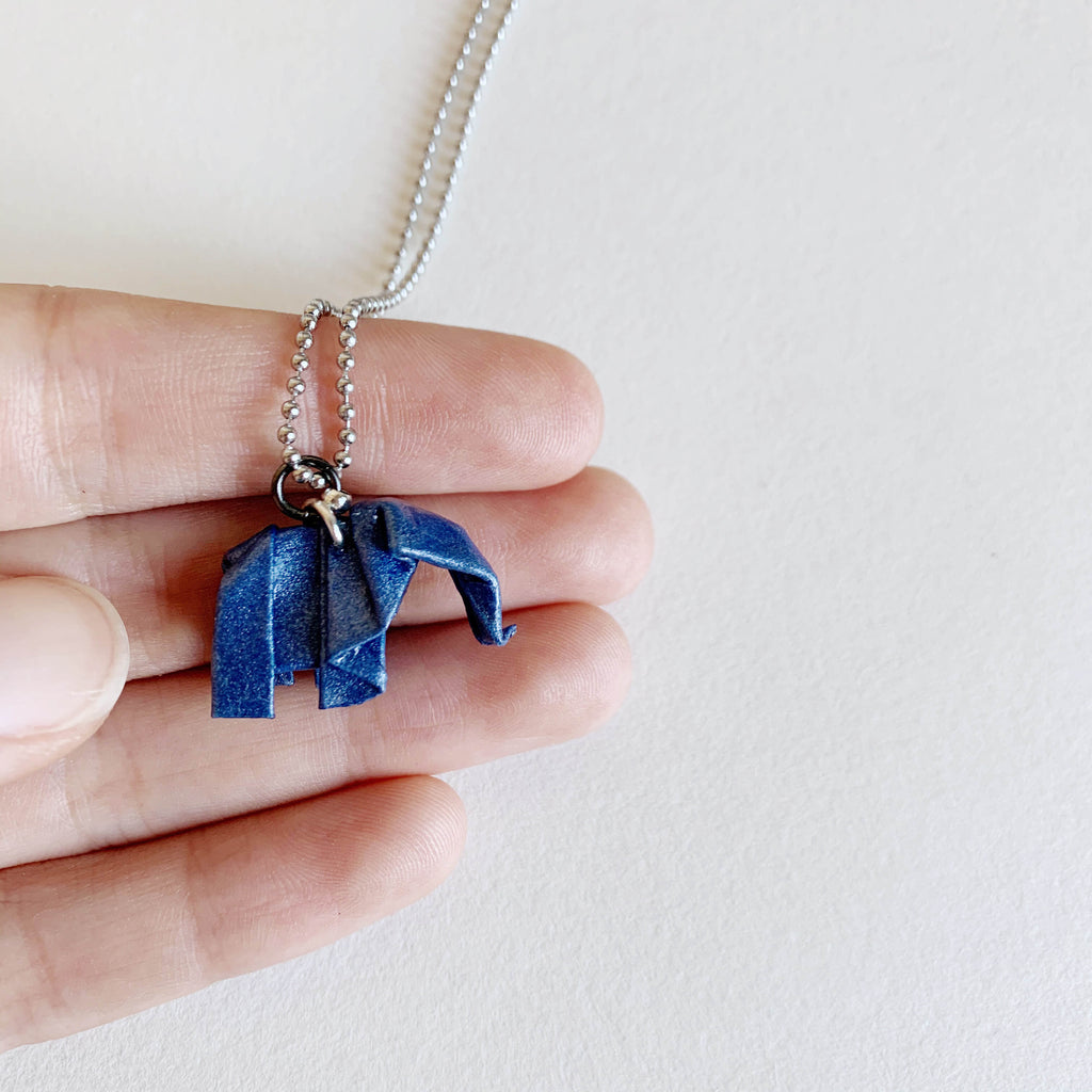 Handmade origami elephant necklace by Papiro Gems