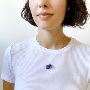 Origami elephant silver necklace for paper weddings
