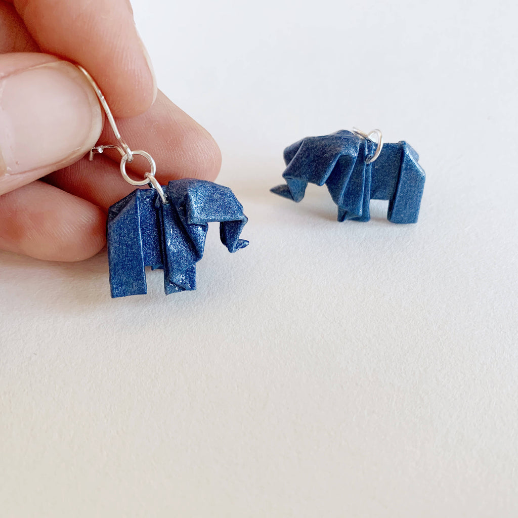 Handmade origami elephants in silver earrings for paper weddings
