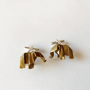 Handmande elephant origami cufflinks for broom