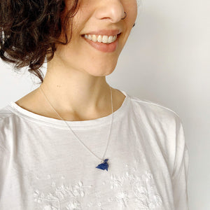 Papiro Gems Origami hummingbird silver necklace