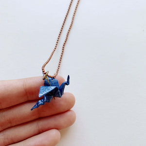 Handmade origami blue dragon necklace
