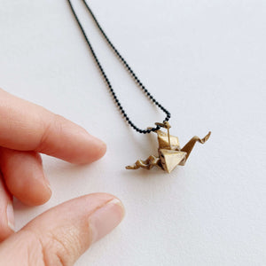 Handmade origami golden dragon necklace