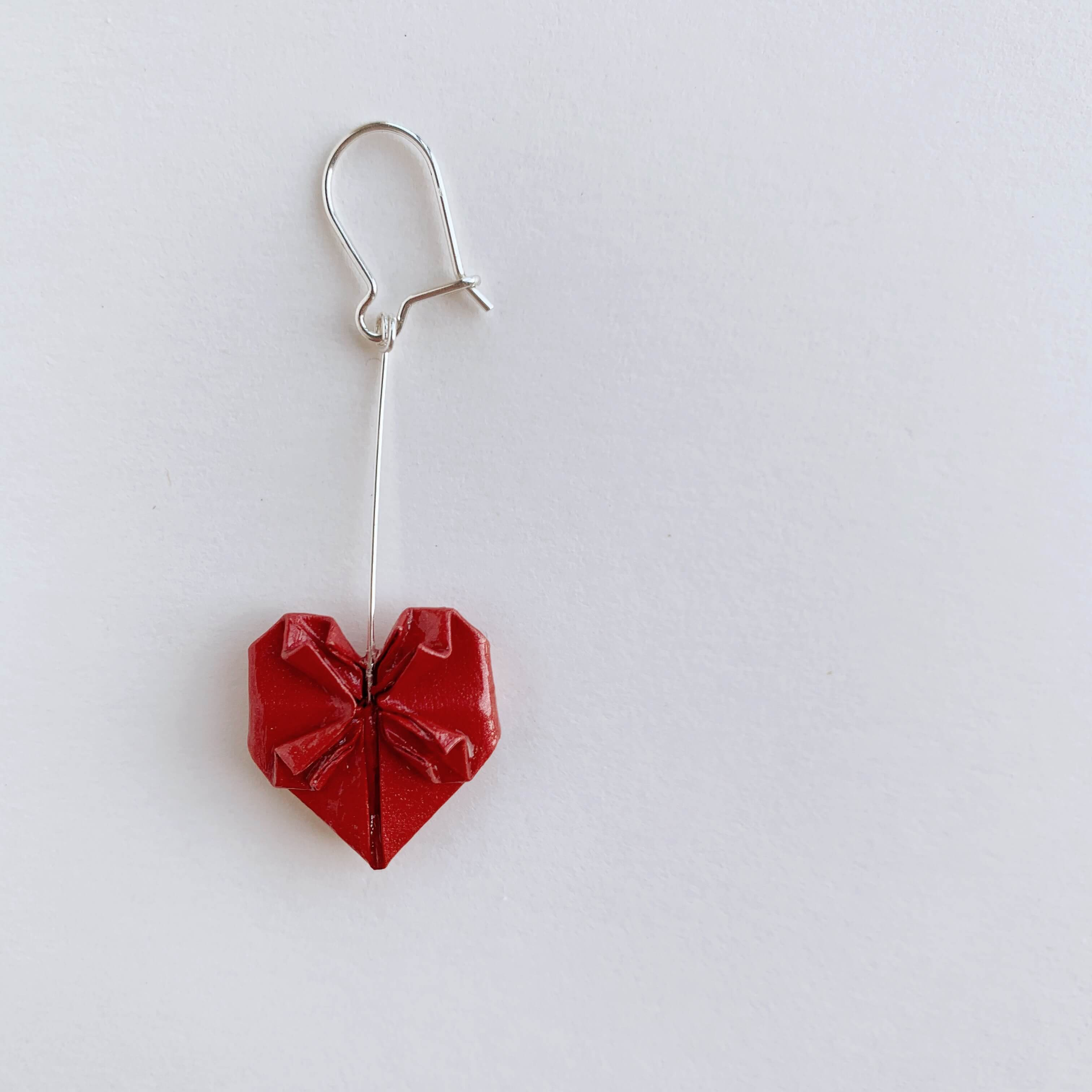 Valentines origami heart silver earrings