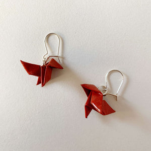 Money heist red origami bird paper silver earrings