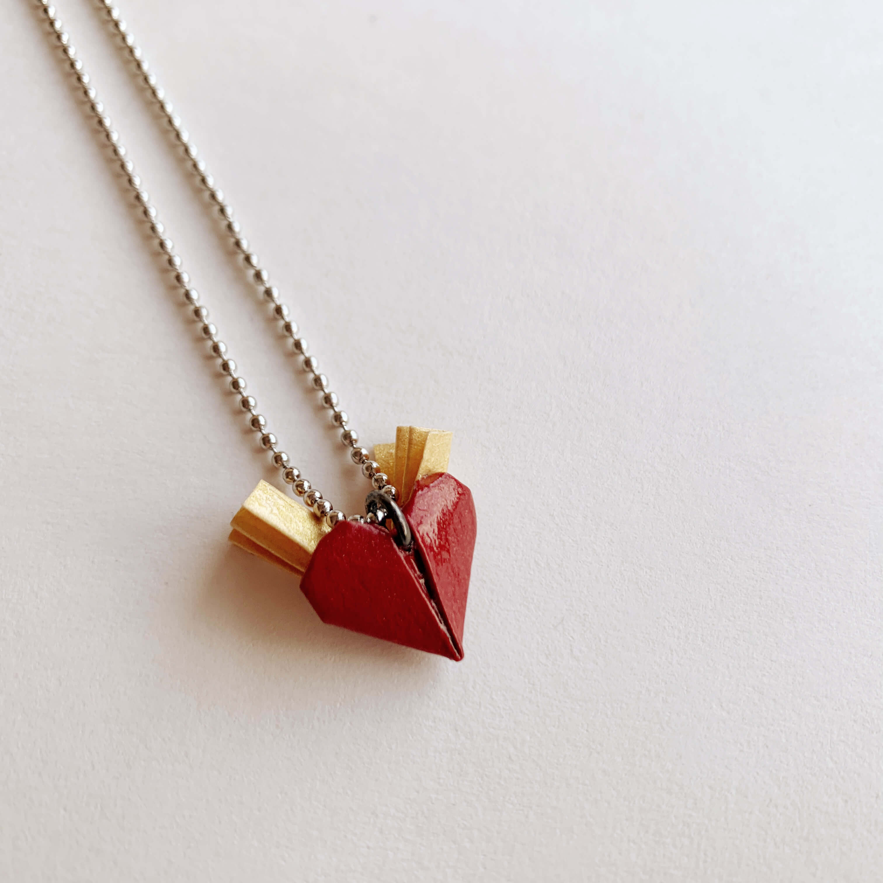 Origami valentines winged heart necklace