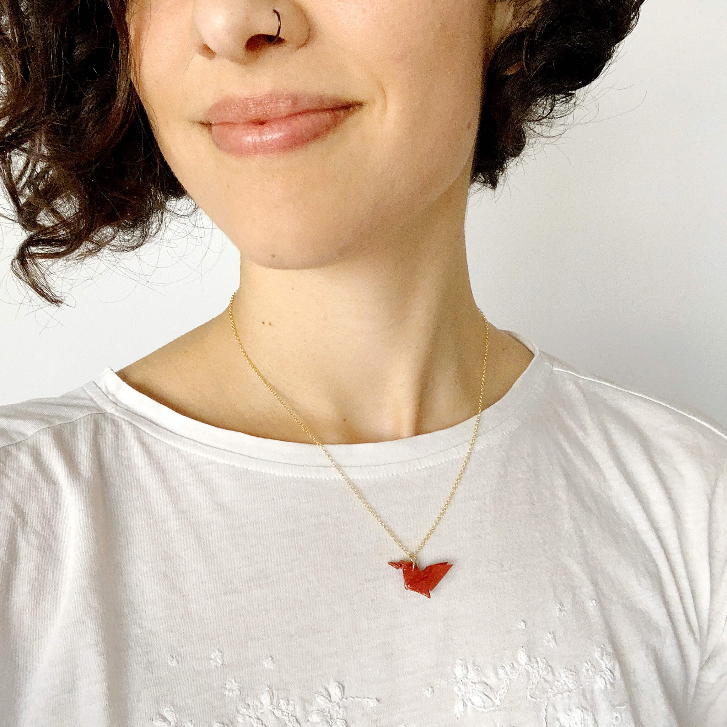 Personalized handmade origami bird necklace