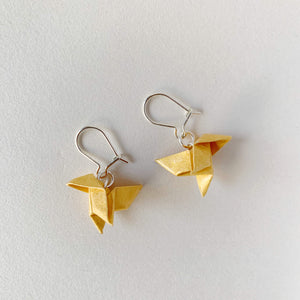 Handmade paper bird origami silver earrings