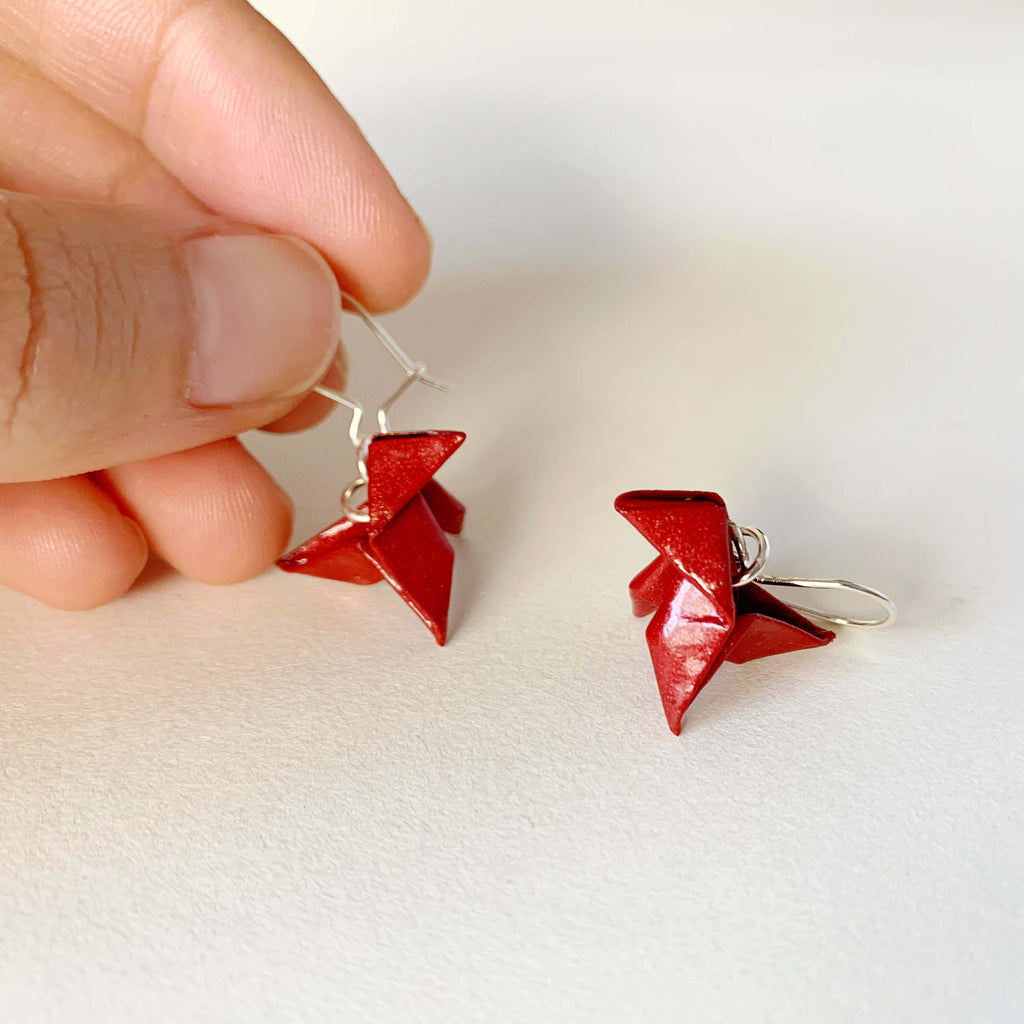 Money heist red origami bird paper earrings