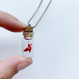 .Paper Bird Money Heist Bottle Necklace.