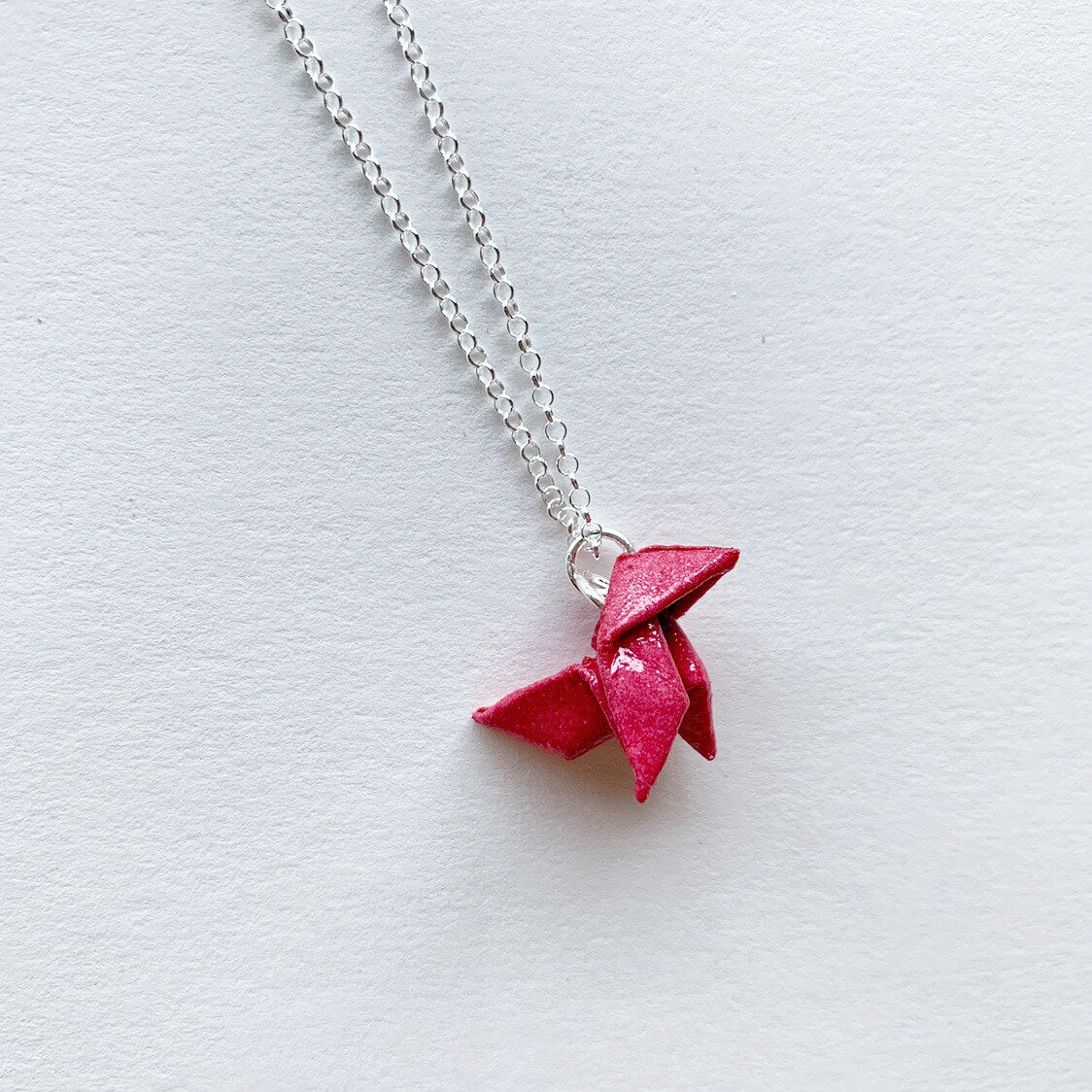 Casa de papel red origami bird paper necklace