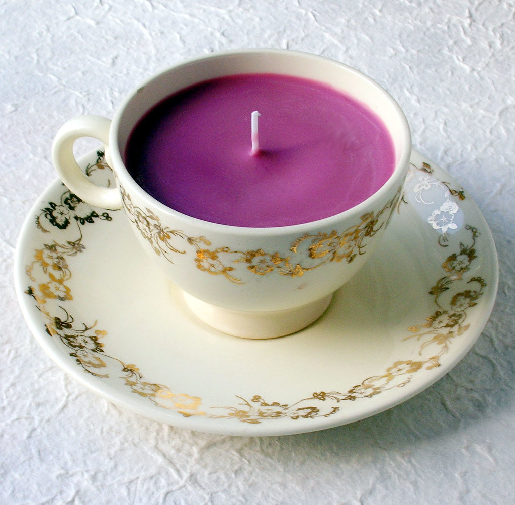 tea cup candle upcycling idea