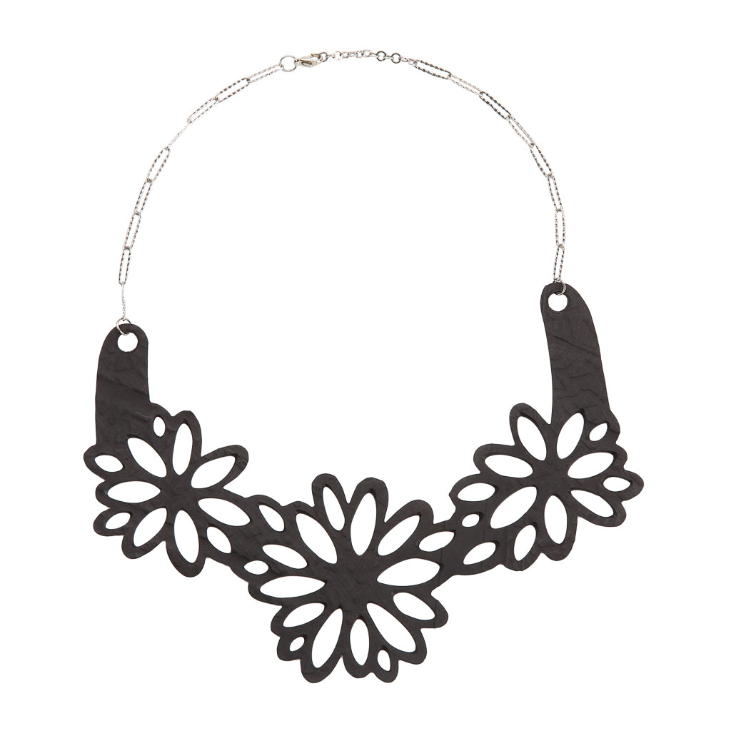 Dahlia Inner Tube Floral Necklace by Paguro Upcycle