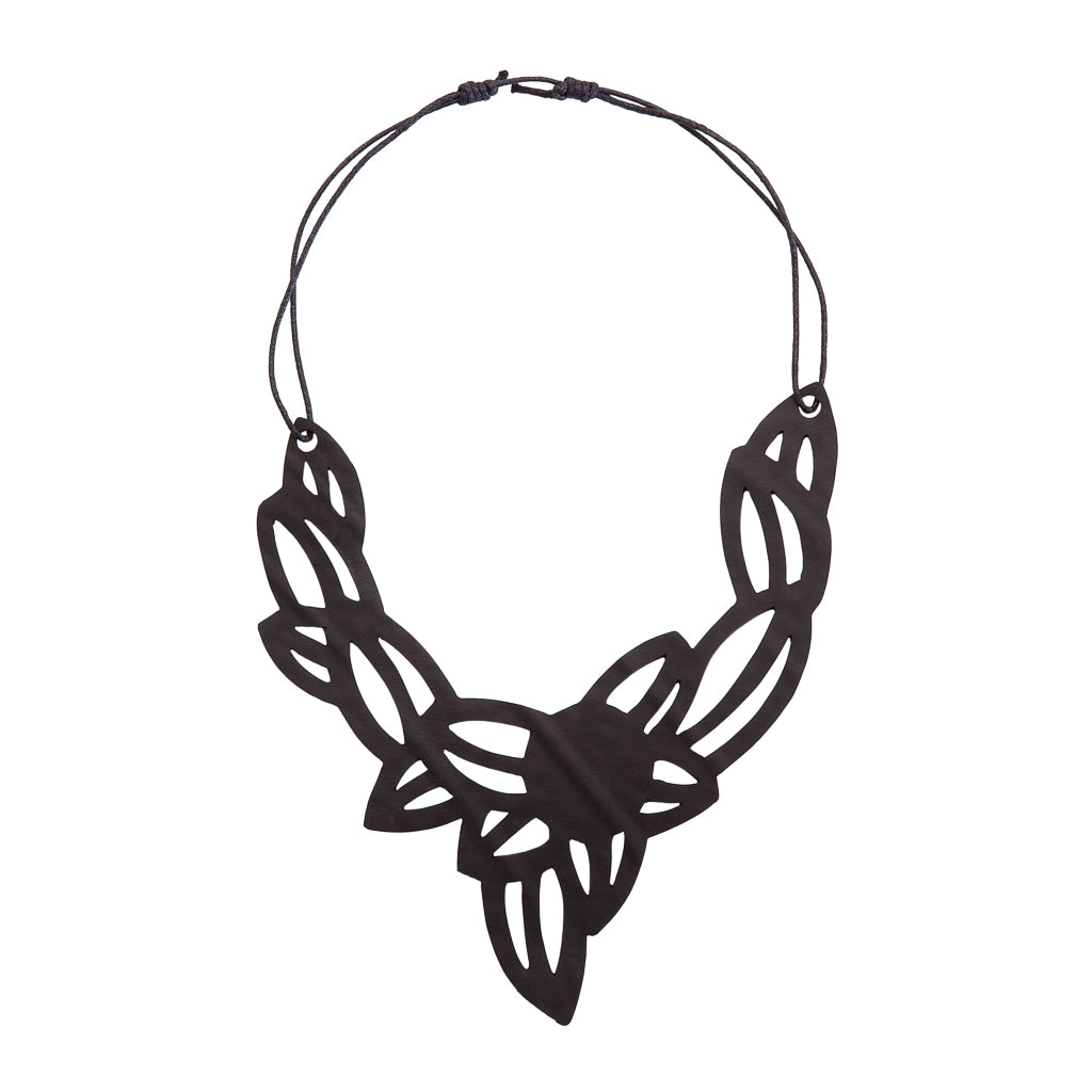 Iris Elegant Inner Tube Vegan Necklace by Paguro Upcycle