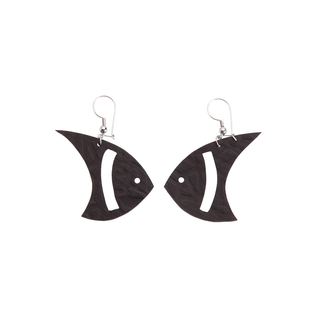 Pisces Recycled Rubber Fish Earrings by Paguro Upcycle