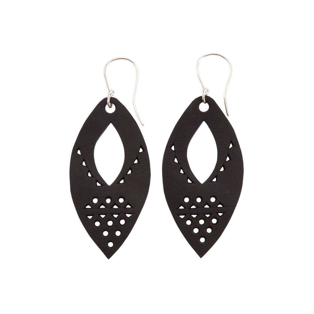 Marquise Intricate Recycled Rubber Earrings