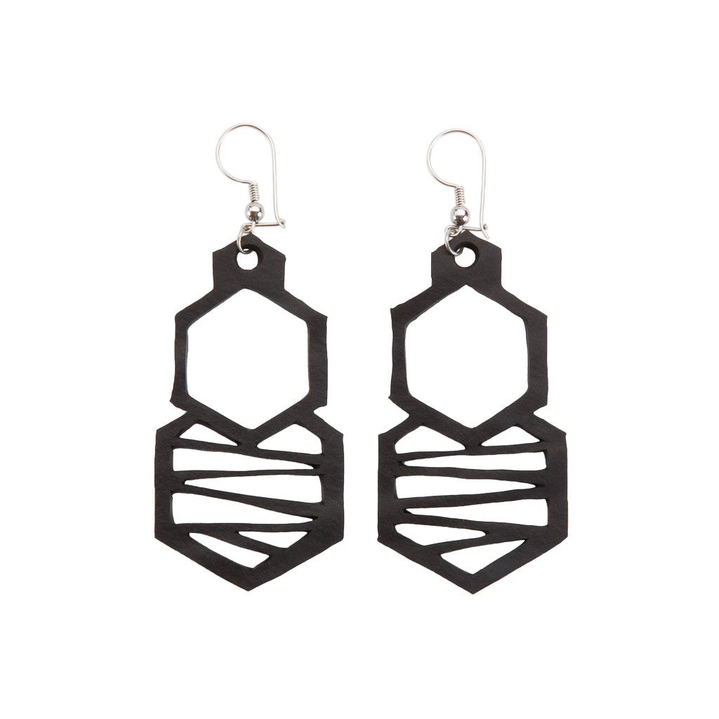 Honeycomb Handmade Rubber Earrings by Paguro Upcycle