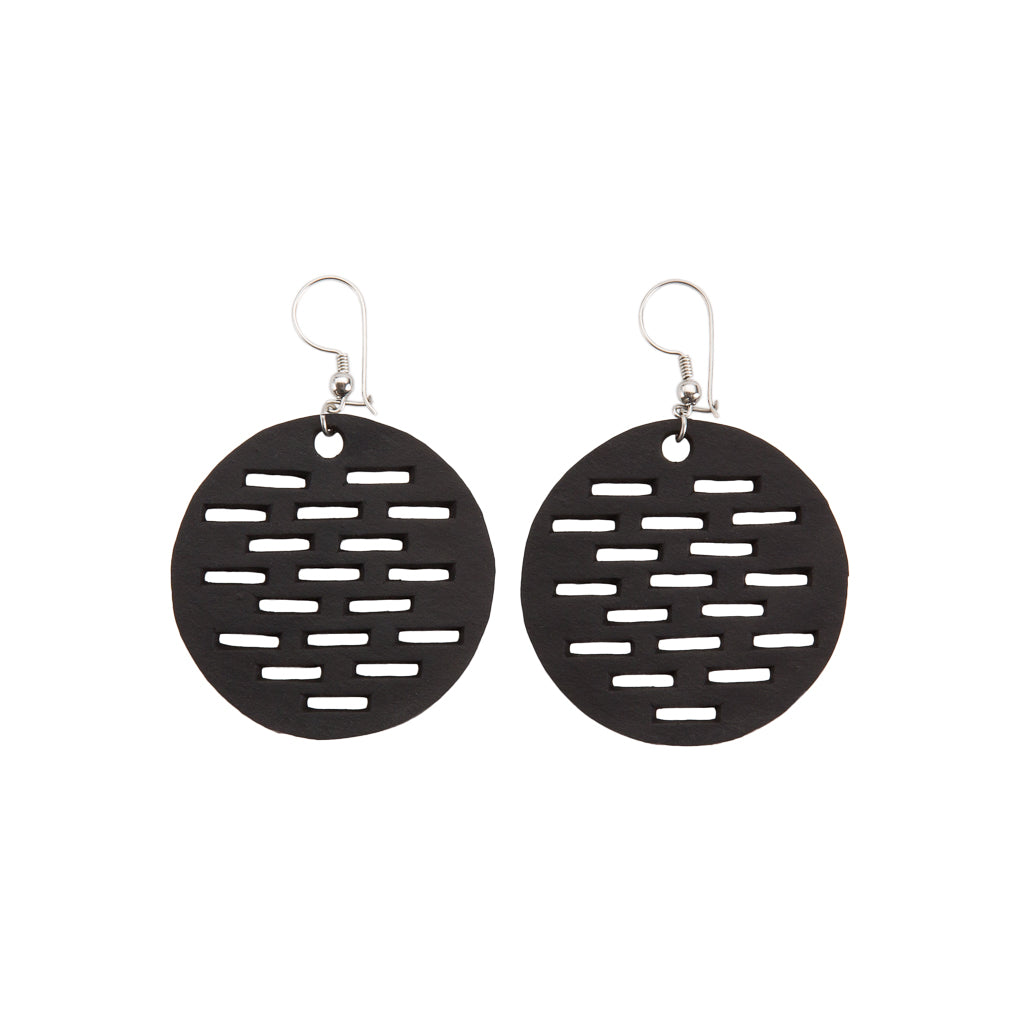 Coding Recycled Rubber Circular Earrings by Paguro Upcycle