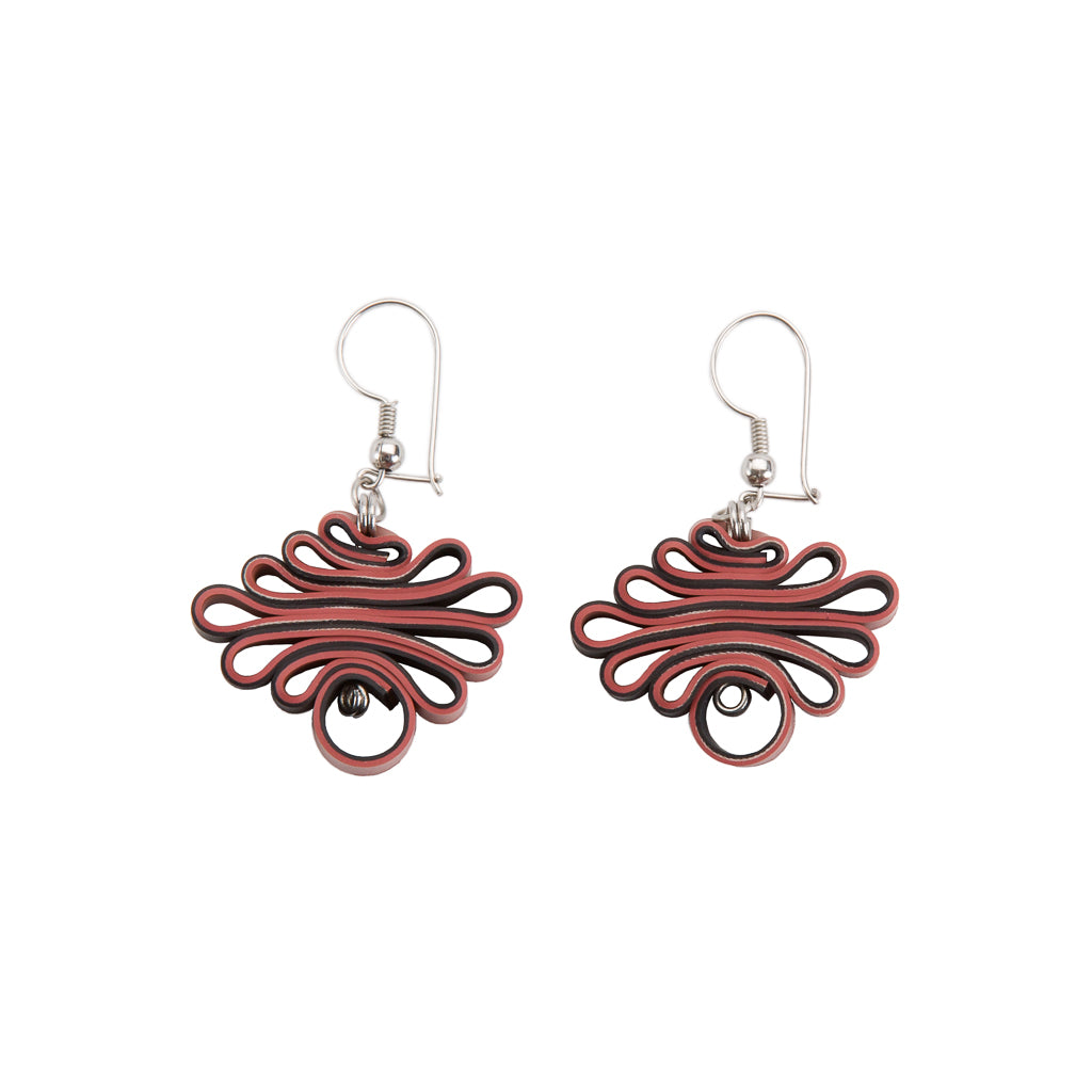 Zig Zag Recycled Rubber Earrings (3 Colours Available)