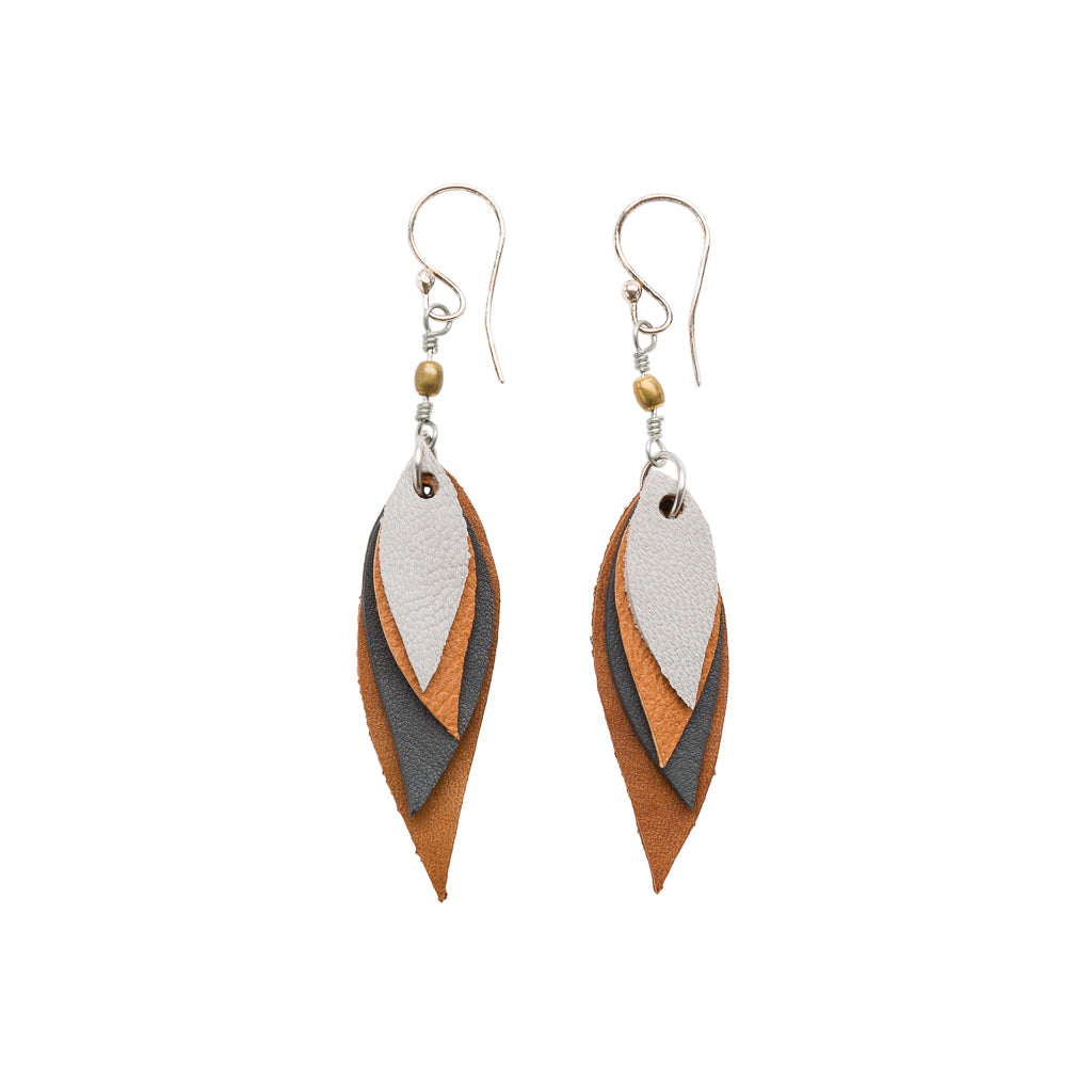 Flake Recycled Leather Earrings by Paguro Upcycle