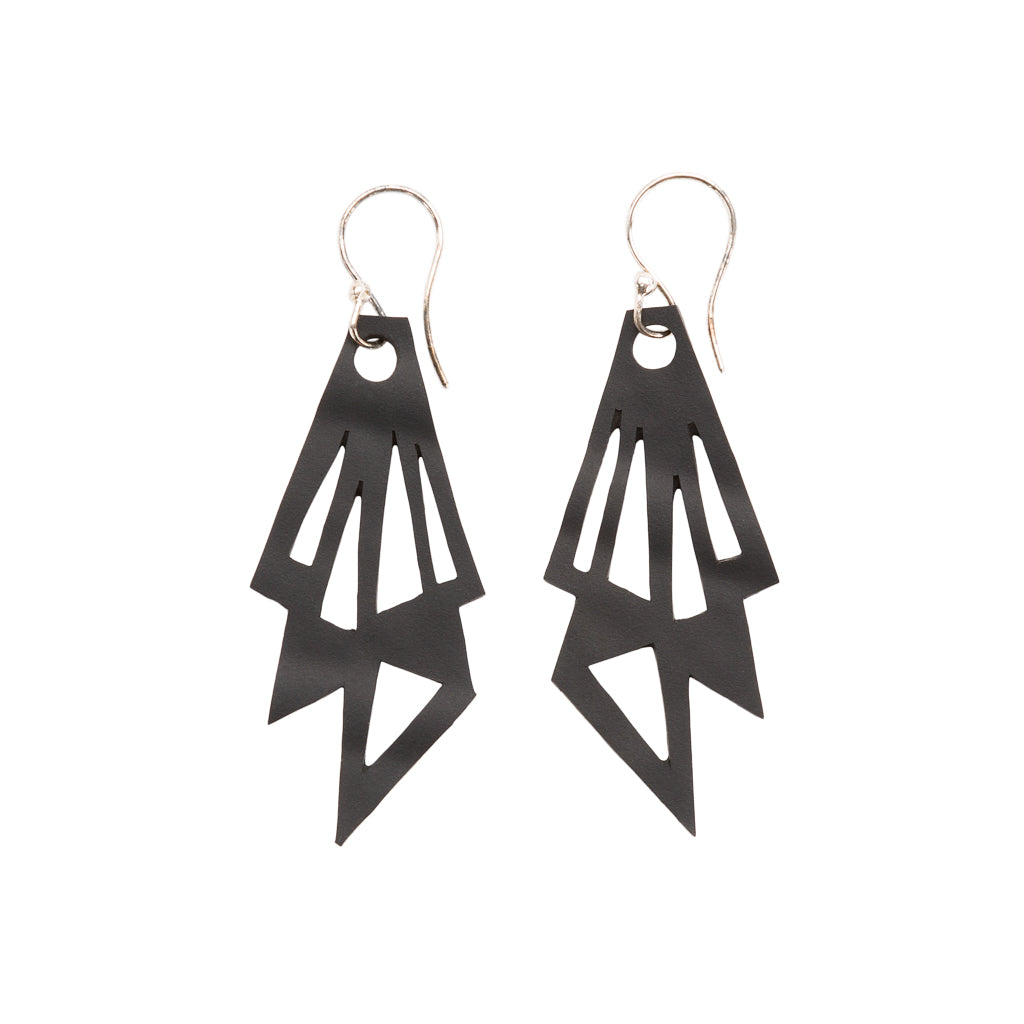 Thunder Recycled Rubber Geometric Earrings