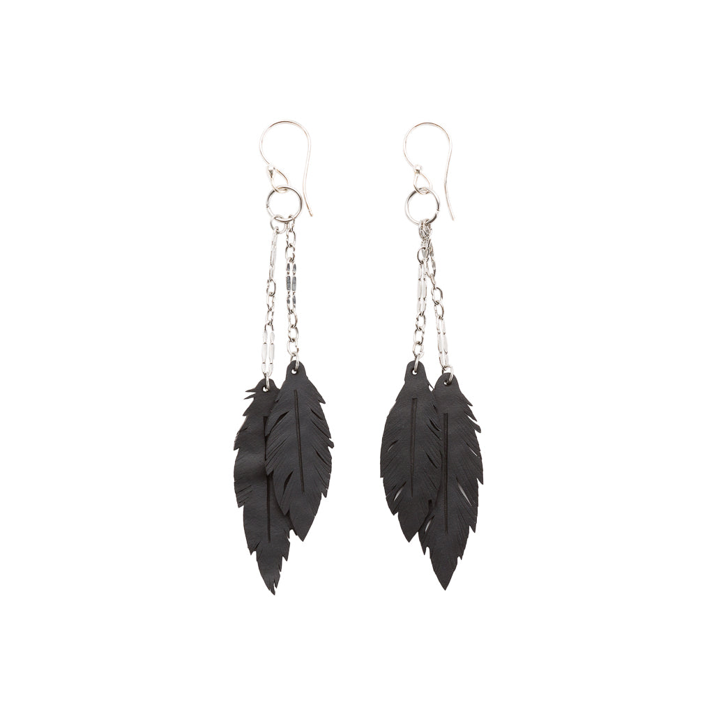 Dangle Feather Recycled Rubber Earrings
