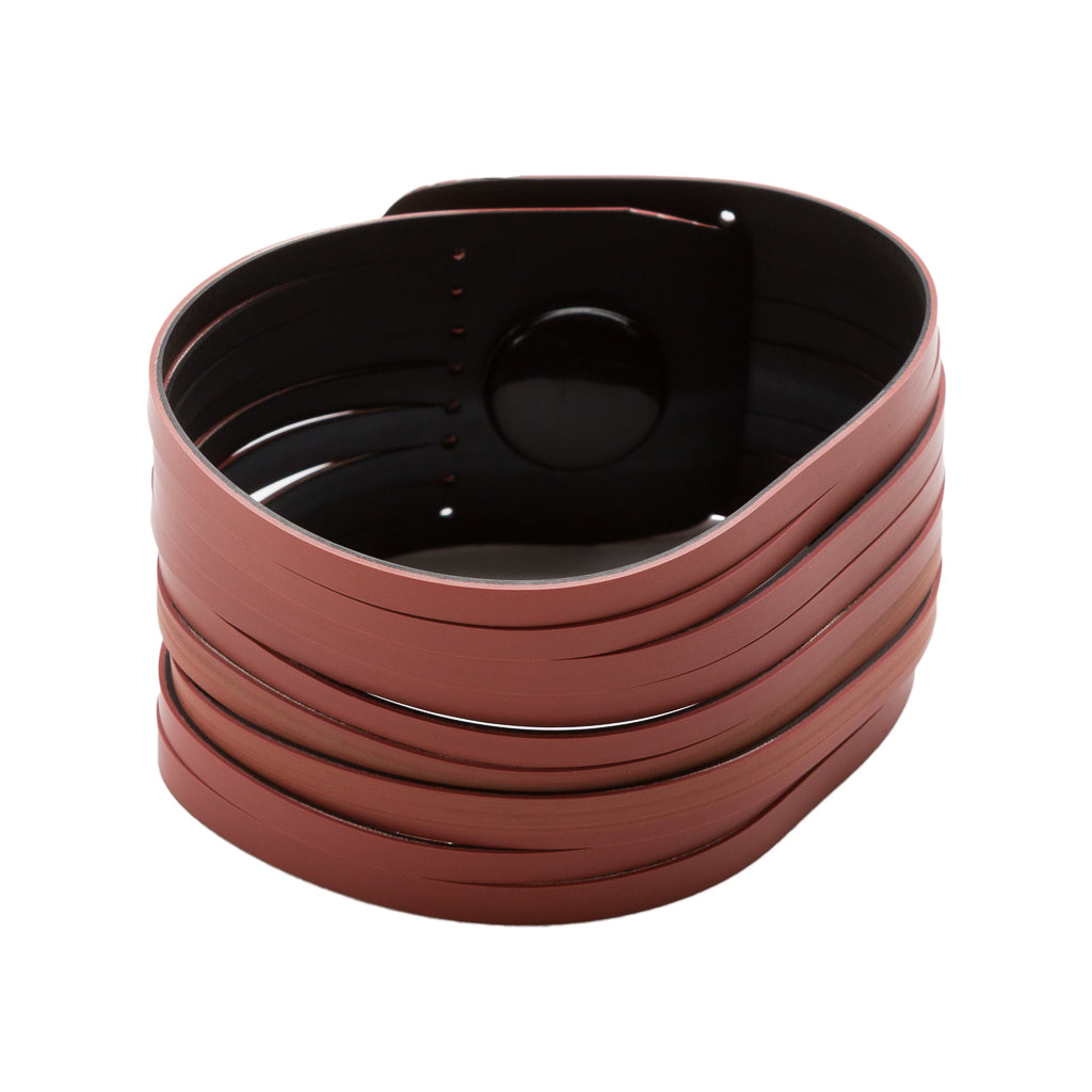 Twirl Recycled Rubber Bracelet (Dusty Pink and Black)