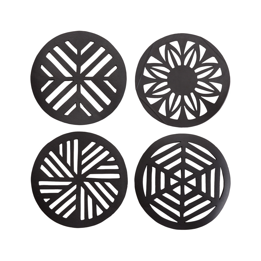 Geometric Handcrafted Recycled Rubber Coasters - Set of 2/4/6/8 by Paguro Upcycle