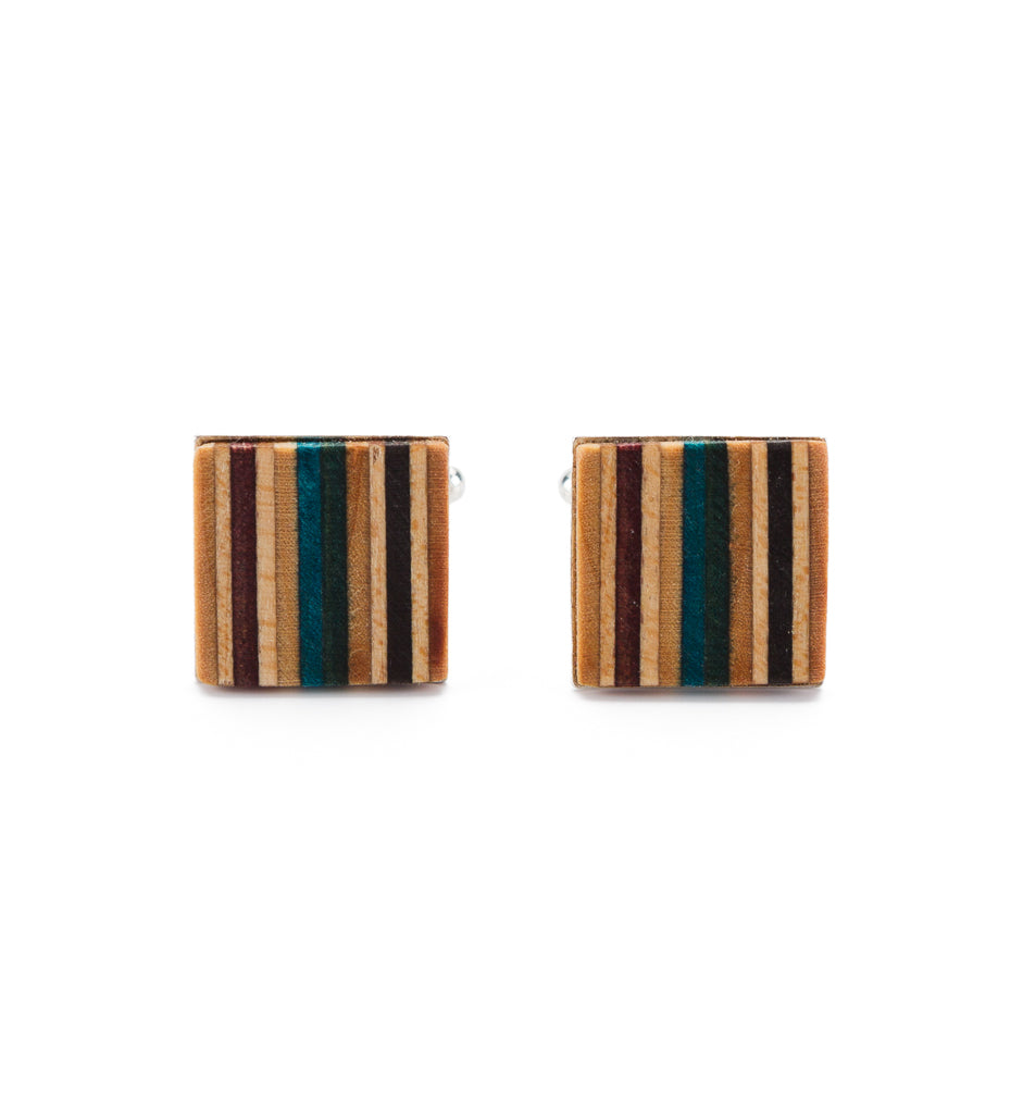 Multicolour Recycled Skateboard Square Cufflinks by Paguro Upcycle