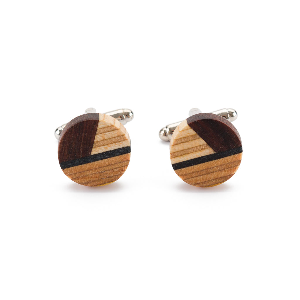 Recycled Skateboard Wooden Round Cufflinks by Paguro Upcycle
