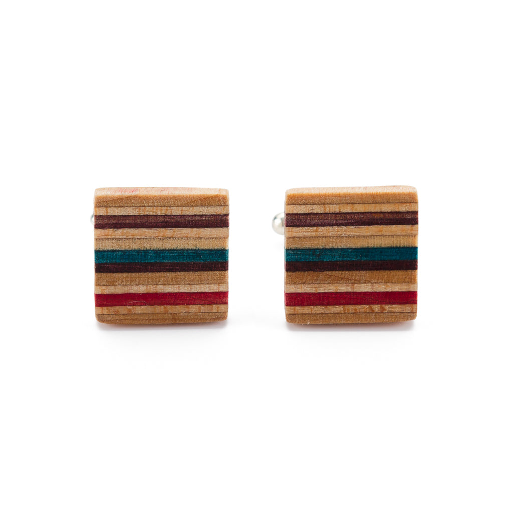 Multicolour Recycled Skateboard Square Cufflinks