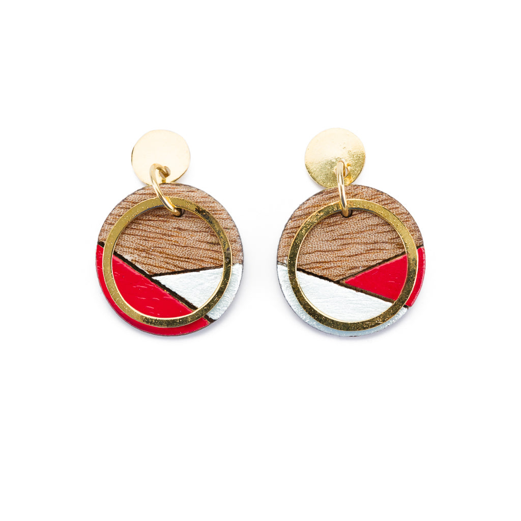 Conture Recycled Wood Gold Plated Earrings (4 Colours Available)