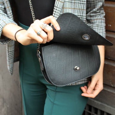 Becca Classic Black Vegan Saddle Bag by Paguro Upcycle