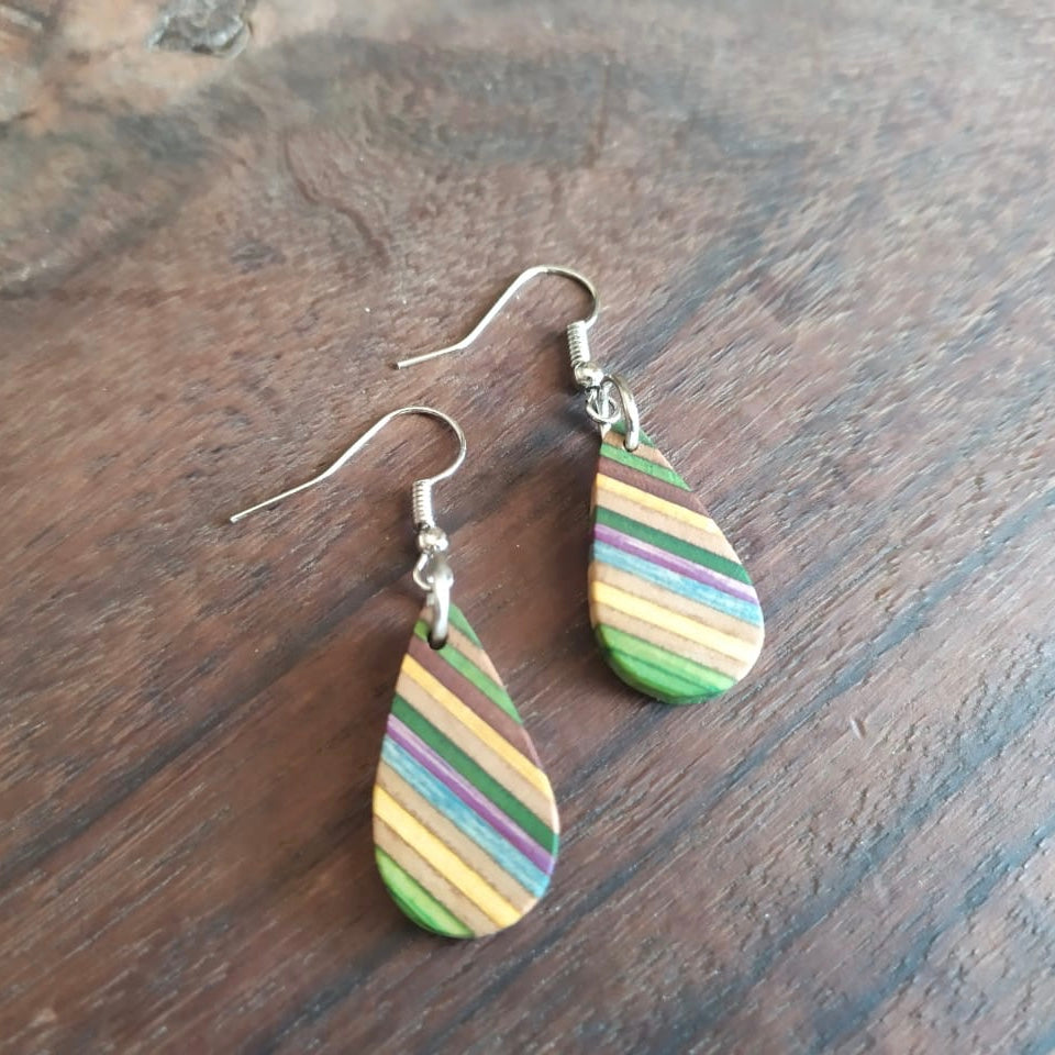 Teardrop Elegant Recycled Skateboard Dangle Earrings