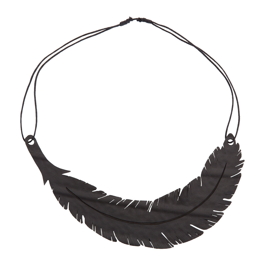 Angel Inner Tube Feather Necklace by Paguro Upcycle