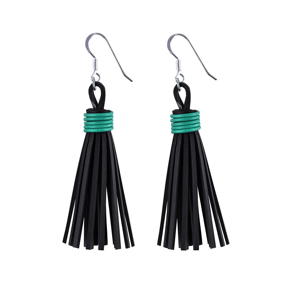 Asante Recycled Rubber Tassel Earrings by Paguro Upcycle