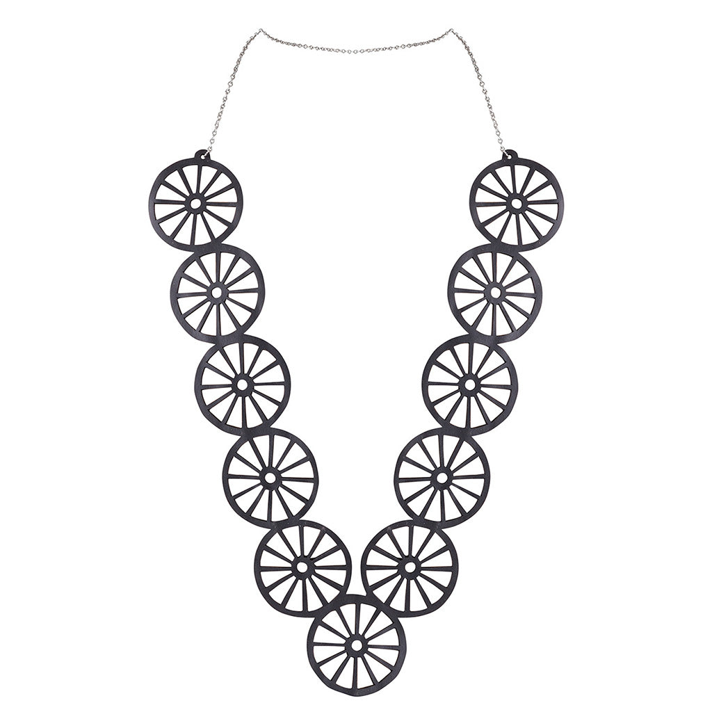 Water Wheel - Loop Circle Long Rubber Necklace by Paguro Upcycle