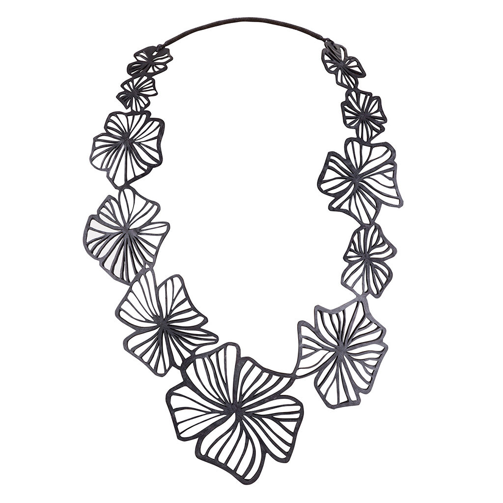 Canna Handmade Long Floral Necklace by Paguro Upcycle