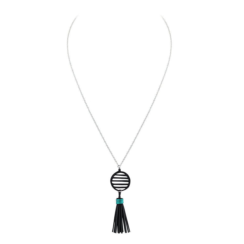 Lunar Rubber Tassel Necklace by Paguro Upcycle
