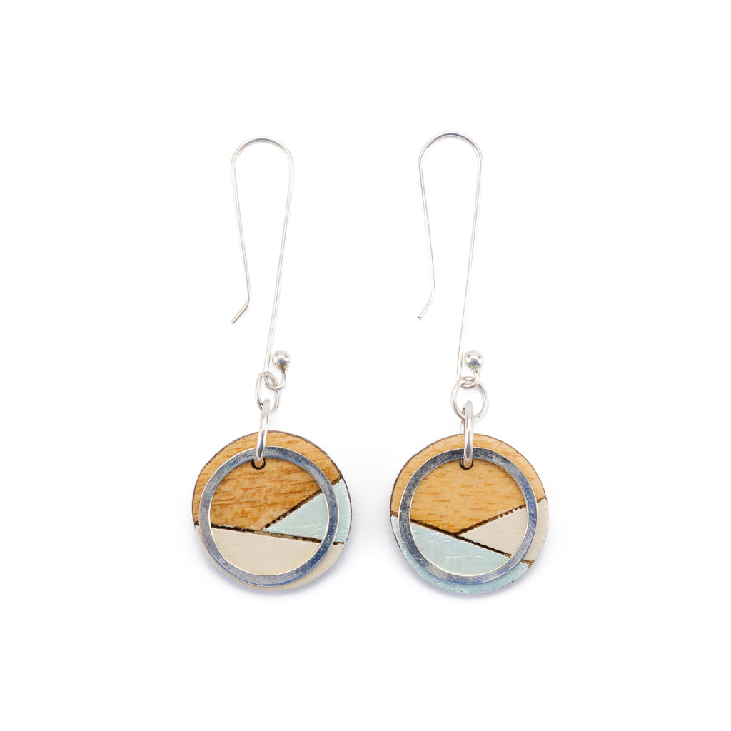Conture Recycled Wood Silver Dangle Earrings (6 Colours available)