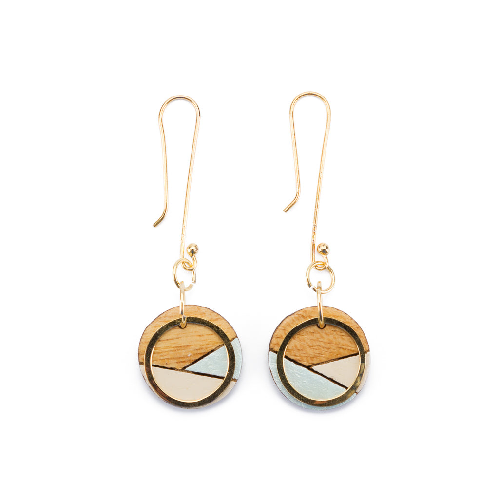 Conture Recycled Wood and Gold Handmade Dangle Earrings