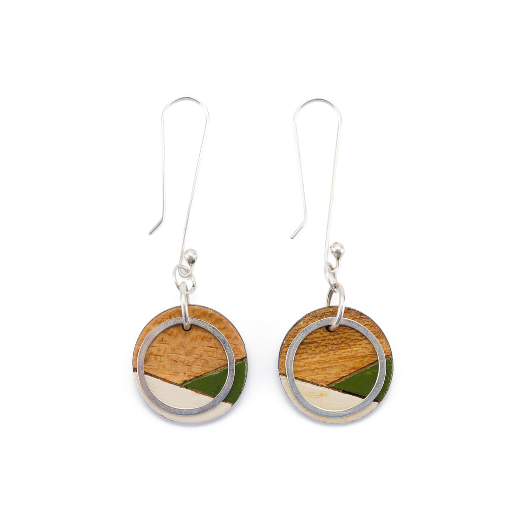 Conture Recycled Wood Silver Dangle Earrings (4 Colours available)