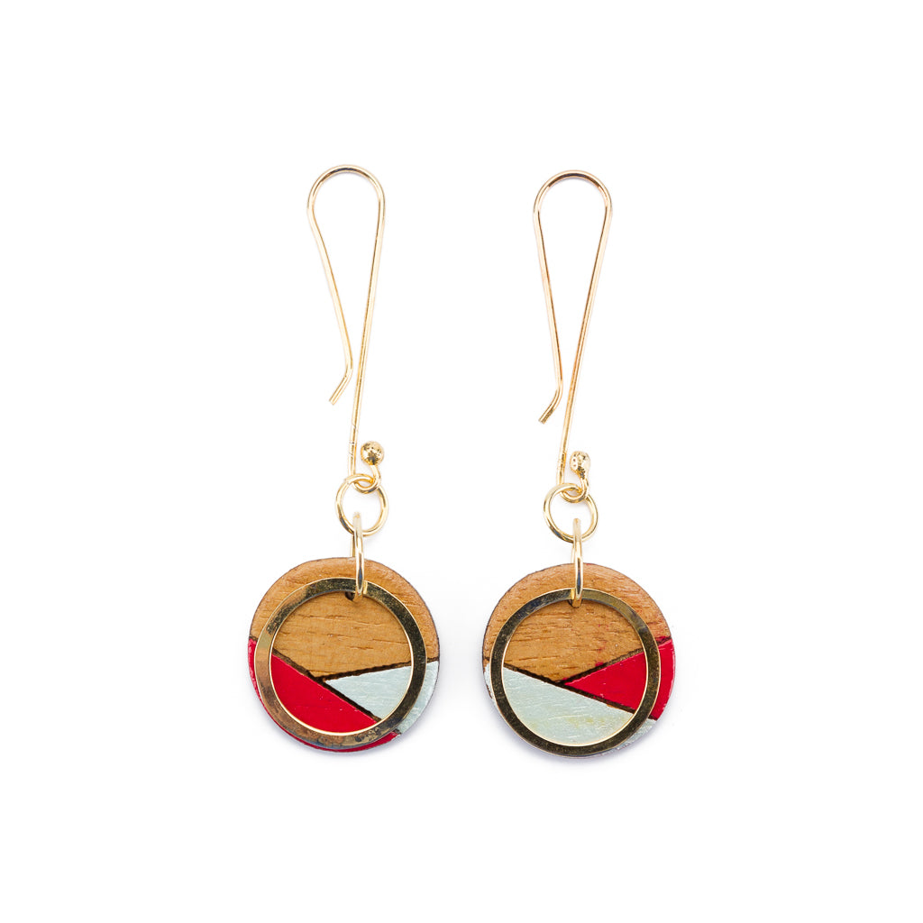 Conture Recycled Wood Gold Dangle Earrings (4 Colours available)