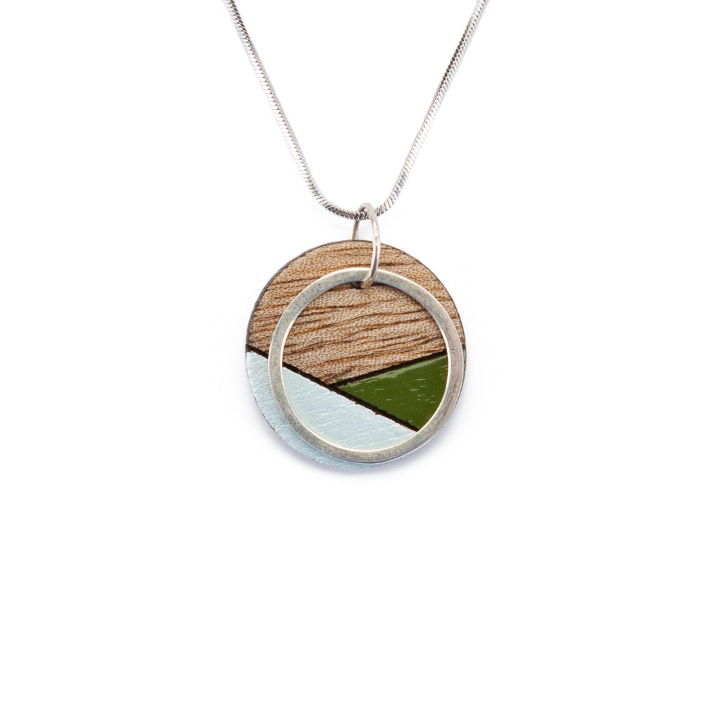 Conture Recycled Wood Silver Necklace (6 Colours available) by Paguro Upcycle